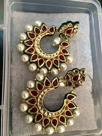 Kundan Green Pearl Earrings