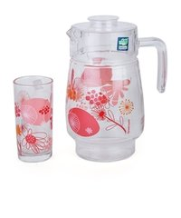 Printed Pink Orange Lemon Flower Glass Jug Set