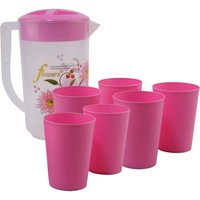 Pink Pet Plastic Jug With 6 Glasses