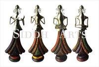 Wood Metal Lady Musician Sculpture