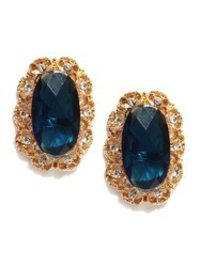 Gold Toned And Blue Stud Earring