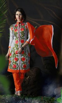 Designer Chanderi Suit with Chiffon Dupatta