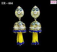 Yellow Blue Hanging Bandhai Earring