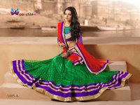 Fabulous Parrot Green with Purple Color Embroidery Lehenga Choli