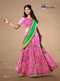 Dazzling Pink with Parrot Green Color Embroidery Lehenga Choli