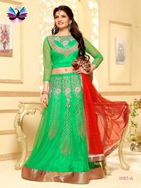 Amazing Green Color with Red Color Embroidery Lehenga Choli