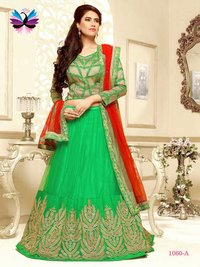 Classic Looking Green with Red and Beige Color Embroidery Lehenga Choli