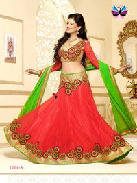 Attractive Looking Orange with Green and Gold Color Embroidery Lehenga Choli