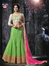 Lovely Looking Green with Pink and White Color Embroidery Lehenga Choli