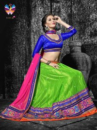 Adorable Green Color with Pink and Blue Color Embroidery Lehenga Choli