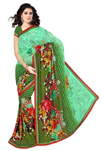 Light Green Colored Lining Chiffon Plain Sarees