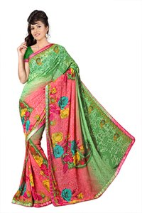 Green Satin and Georgette Plain Saree With Embroidered Border