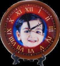 Wooden Clock Round Photo Frame