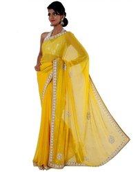 Faux Chiffon Yellow Saree