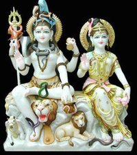 Shiva And Parvati Marbal Statue