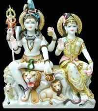 Shiva And Parvati Marbal Statue