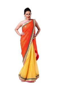 Ranas Orange And Yellow Pure Georgete Kundan Zardozi Saree