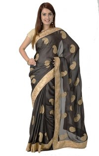 Ranas Black Faux Crepe Zari Kundan Work Saree