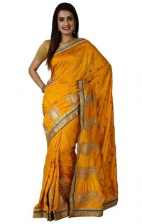 Ranas Golden Yellow Faux Silk Zari Crystal Cutdana Work Saree