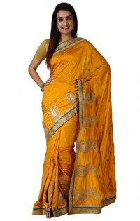 Ranas Golden Yellow Faux Silk Zari Crystal Cutdana Work Saree