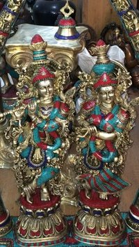Handcrafted Radha Krishna Status With Stone Work