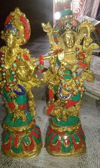 Handcrafted Brass Krishna Status With Stone Work