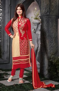 Red And Beige Straight Suit