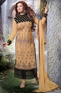 Chikoo And Black Color Suit