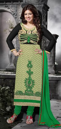 Green, Chikoo And Black Color Suit