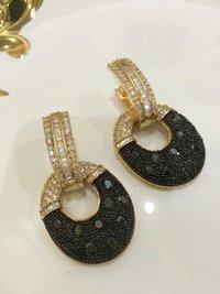 American Diamond Imitation Oval Shape Earrings