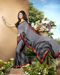 Grey Color Printed Saree