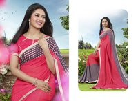 Pink And Grey Color Printed Saree