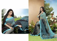 Designer Grey And Multi Color Printed Saree