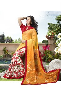 White, Multi And Yellow Shaded Orange Color Printed Half And Half Saree