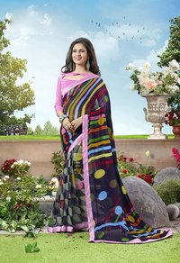 Navy Blue And Multi Color Printed Saree