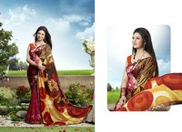 Rani And Multi Color Printed Half And Half Saree
