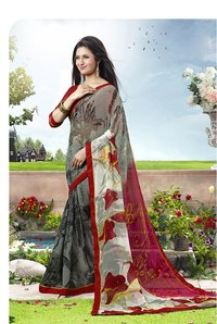 Grey, Multi Color Printed Saree