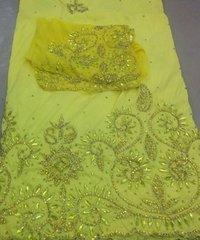 Heavy Beaded Raw Silk George Fabric