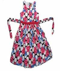 Kids Sleeveless Cotton Frock With Floral Print - Multicolor