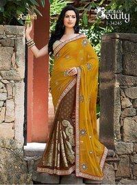 Anushree Sarees Indian Beauty Designer Saree (Yellow)