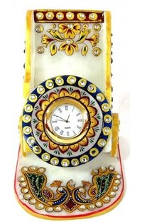 Carved Marble Mobile Stand With Watch