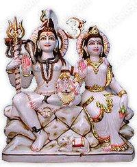Shiv Parvati Marble God Statues