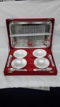 Silver Plated Dry Fruit Bowl Set (4 Pcs)