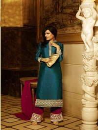DARK CYAN AND PINK HEAVY EMBROIDERY STRAIGHT SUIT