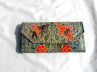 Hand Printed Leather Ladies Hand Purse