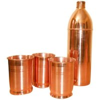 Copper Water Bottle And Glass