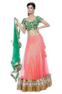 Ladies Peach Lehenga And Emerald Green Blouse