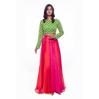 Green With Pink Lehenga and Crop Top