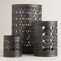 3 Piece Metal Candle Hurricane Set