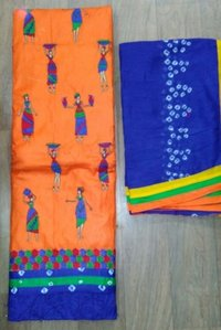 Bandhani Dress Fabric With Silk Dupatta